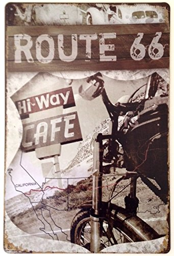 RETRO METAL WALL SIGN TIN PLAQUE VINTAGE LOUNGE ROUTE 66 AMERICA USA US ROAD TRIP MOTORBIKE by Harrington Marley