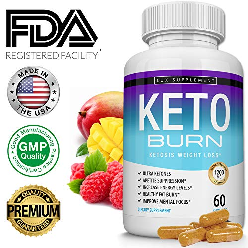 Keto Burn Pills Ketosis Weight Loss– 1200 Mg Ultra Advanced Natural Ketogenic Fat Burner Using Ketone Diet, Boost Energy Focus & Metabolism Appetite Suppressant, Men Women 60 Capsules, Lux Supplement