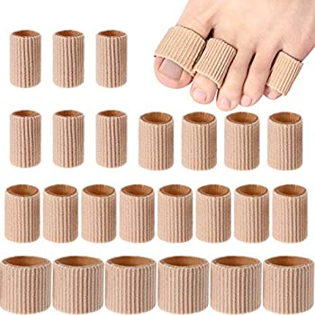 Toe Cushion Tube Toe Tubes Sleeves Soft Gel Corn Pad Protectors for Cushions Corns, Blisters, Calluses, Toes and Fingers (24 Pieces, Mixed Size Toe Cushion Tube)