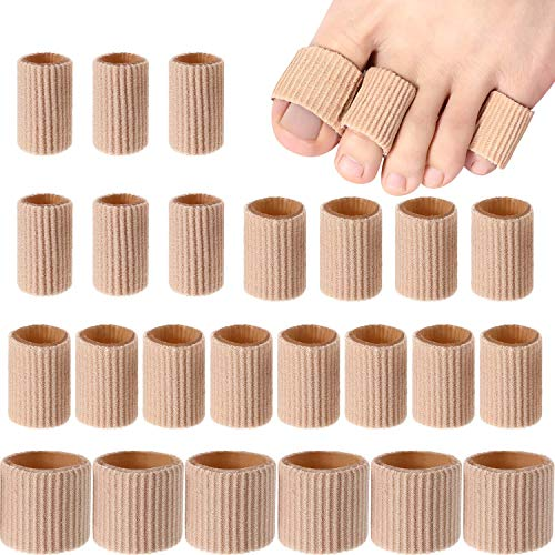 24 Pieces Toe Cushion Tube 0.98 Inches Toe Tubes Sleeves Soft Gel Corn Pad Protectors for Cushions Corns, Blisters, Calluses, Toes and Fingers, 3 Size (Mixed Size Toe Cushion Tube, - Corn Mixed