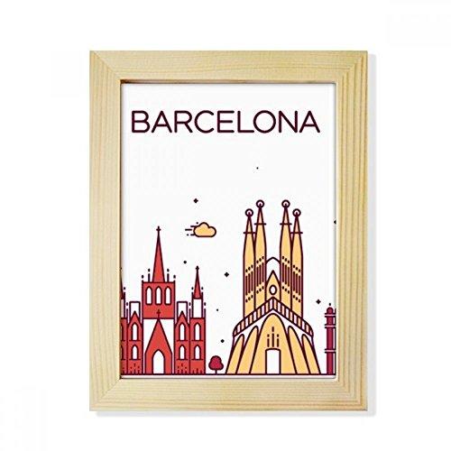 DIYthinker Barcelona Spain Flat Landmark Pattern Desktop Wooden Photo Frame Picture Art Painting 6x8 inch by DIYthinker