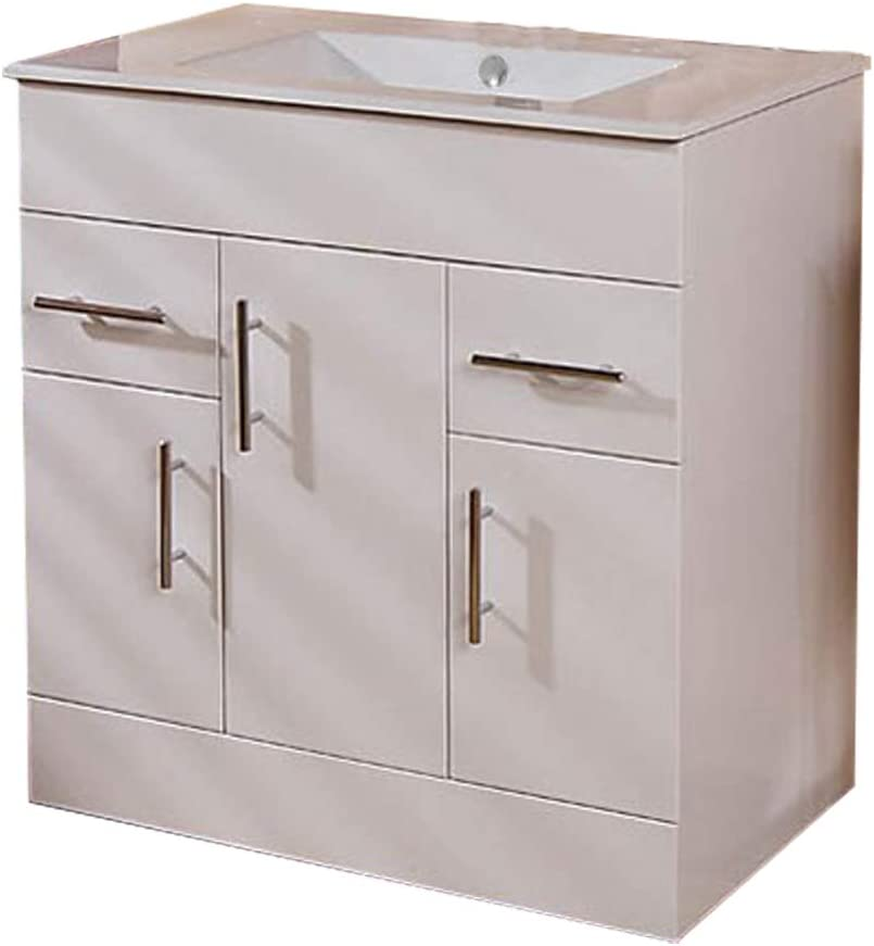 750 Vanity Unit Basin with Cabinet White (+4 Vanity Units 900,600,1000,1200) ; Modern Bathroom Under Sink Basins Square Cabinets Storage Cupboards ; Gloss Soft Close Contemporary Sinks Design