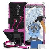 """Asus Zenfone 2 SmartPhone (ZE551ML / ZE550ML - 2015 Model) 5.5"""" Pink Black Shock Proof Case, Tempered Glass Screen Protector, Retractable Stylus Pen, ZIP Stereo HeadPhones with Mic"""