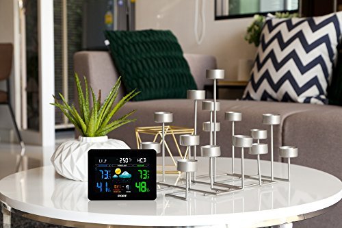 PORT PO207 Wireless Color LCD Display Indoor Outdoor Weather Forecast Station with Alarm