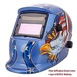 Z ZTDM Welding Helmet Pro Solar Auto Darkening Eagle Hood,Adjustable Shade Range 4/9-13,Mask Grinding Welder Protective Gear Arc Mig Tig,2pcs Extra Lens+CR2032 Battery,CE EN379 ANSI Z87.1(Blue Eagle)
