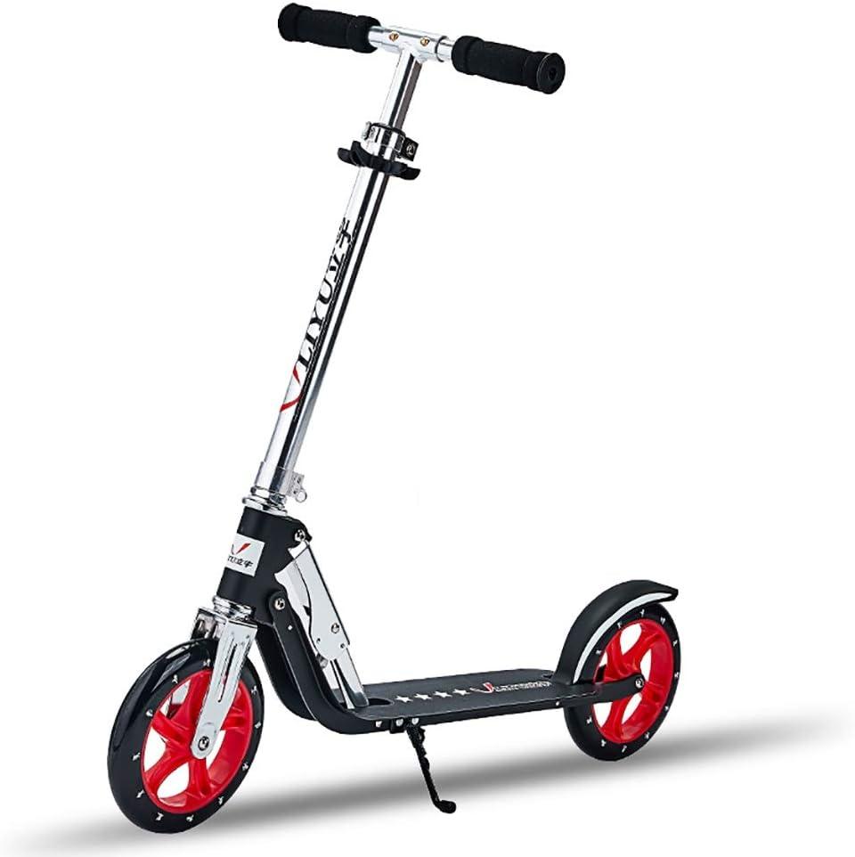 キック ボード 通勤, 軽量スクーター、大人用の折りたたみ式二輪スクーター、20CM大型ホイール、高さ調節可能(非電動)
