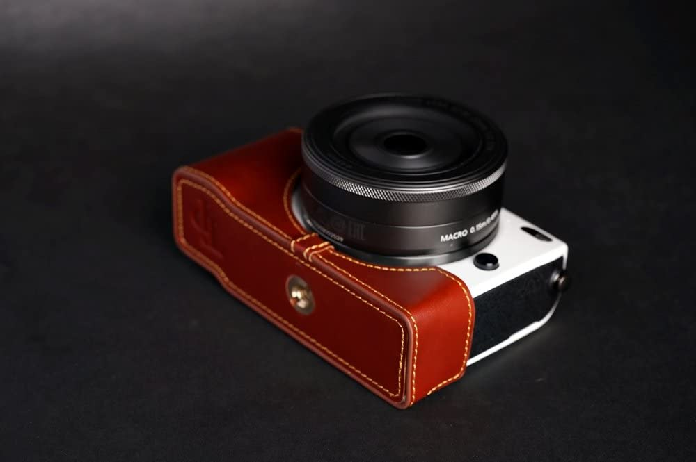 Handmade Genuine real Leather Half Camera Case bag cover for CANON EOS-M2 Brown color