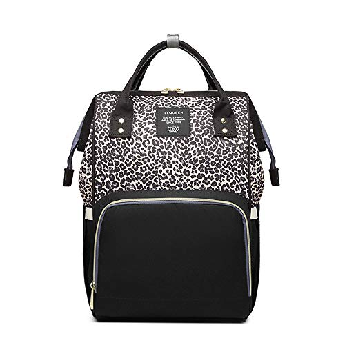 (Diaper Bag Backpack,Leopard Print Fashion Waterproof Multi-Function Travel Baby Bag with Stroller Straps)