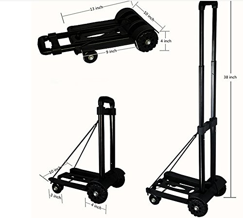 Wincspace Lightweight Folding Hand Cart Dolly Fold Up Hand Truck Portable Utility Moving Shopping Cart(4wheel/165lbs) (4 wheel) by Wincspace (Image #1)