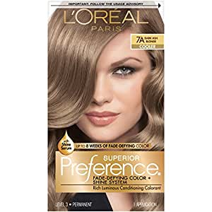 Amazon Com L Oreal Paris Superior Preference Fade Defying Shine Permanent Hair Color 7a Dark Ash Blonde Pack Of 1 Hair Dye Chemical Hair Dyes Beauty