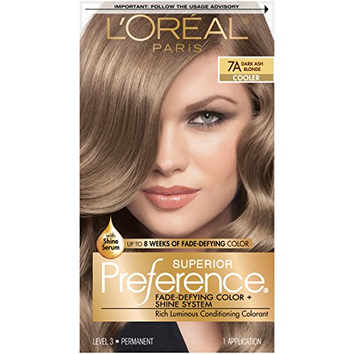 L'Oréal Paris Superior Preference Fade-Defying + Shine Permanent Hair Color, 7A Dark Ash Blonde, 1 kit Hair Dye