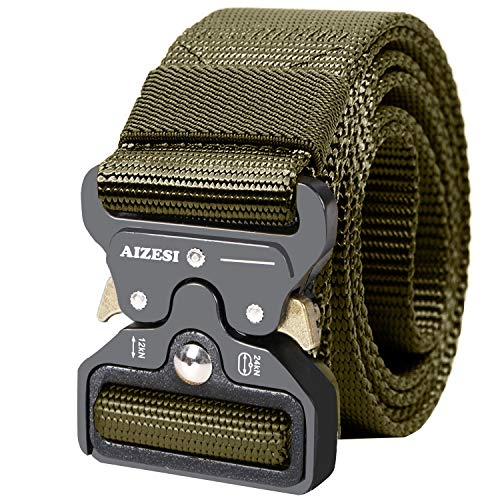 AIZESI Police Firefighter Belts, Webbing Belt Green Belt Training, Men's Tactical Belt, Military Style Nylon Webbing Riggers Belt with Quick Release Metal Buckle Heavy-Duty(Green)