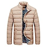 Muranba Men Winter Warm Down Coat Slim Thick Casual Outerwear Parka Jacket 4 Color (XXL, Beige)