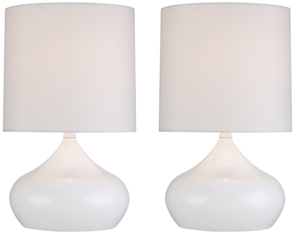 Steel Droplet 14 3/4''H White Small Accent Lamps Set of 2