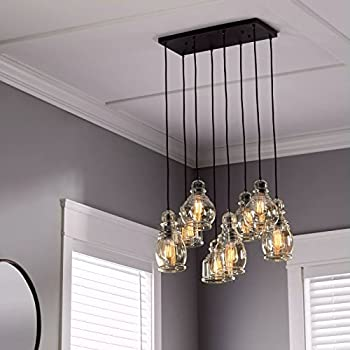Linear chandelier centerpiece for dining rooms and kitchen areas 24 long light fixture provides