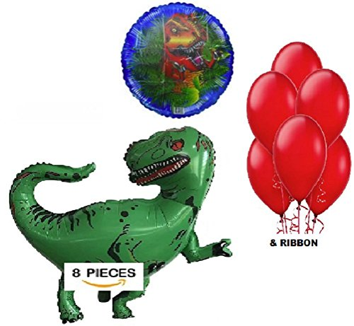 Birthday Balloons - 10 Piece Jurassic Decoration Kit - Helium & Latex Dino Balloon Supplies - Prehistoric Set Without Banner - by Jolly Jon (Without Banner) ()