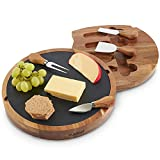 VonShef Acacia Wooden Rectangular Paddle Platter Board with Hanging Loop and 3 Piece Specialist Knife Set, Perfect for Serving Cheese, Tapas, Sliders or Desserts, 16.1 x 7.1 Inches