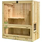 Aluora Wooden Indoor Chinchilla Ferret Cage - Small Animals House Multi Storey with Glider Pet Home for Hamsters Size L 25.4 W 15.75 H 29.2 Inches Enclosure (Tamaño: L 25.39 inches, W 15.75 inches, H 29.13 inches.)