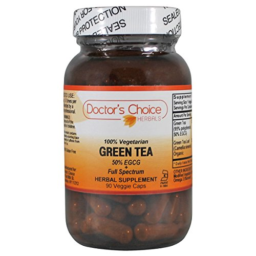 Green Tea 90 Caps - Doctor's Choice Organic Green Tea 250mg 90 Veggie Caps (Premium Quality-Glass Bottle)