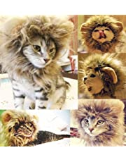 Generic Pet Costume Lion Mane Wig for Cat Christmas Xmas Santa Halloween Clothes Festival Fancy Dress up (Blending, S)