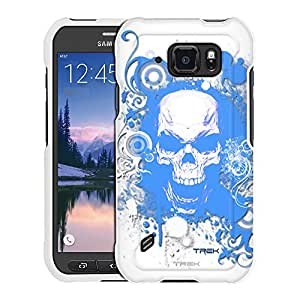 Samsung Galaxy S6 Active Case, Snap On Cover by Trek Blue Skull on White Case