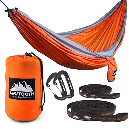 Sawtooth Double Camping Hammock BUNDLE - Double Hammock, Tree Straps, and Premium Wiregate Carabiners.