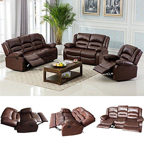Giantex 3Pc Black Motion Sofa Loveseat Recliner Set Living Room Bonded Leather Furniture (3 Suits, Espresso)