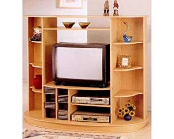 Merveilleux Amazon.com: Entertainment Cabinet Tv Stand With Cd Rack And Dvd Player Tier  In Natural Finish ADS6055 Na: Kitchen U0026 Dining