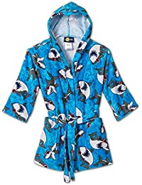Shark Ocean Print Cotton Hooded Terry Robe Cover Up , Sizes 4-12