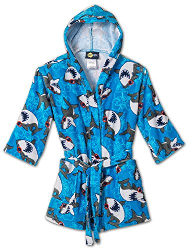 - Splish Splash & Me Boys Beach Bath Shark Hooded Robe Cover Up, Kids Size 5/6