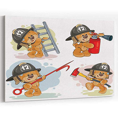(Actorstion Set of Teddy Bears Firefighters Cartoon Characters 076232 Canvas Art Wall Dector,18