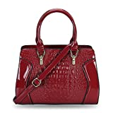 Hynes Victory Crocodile Pattern Top Handle Handbags (Red)