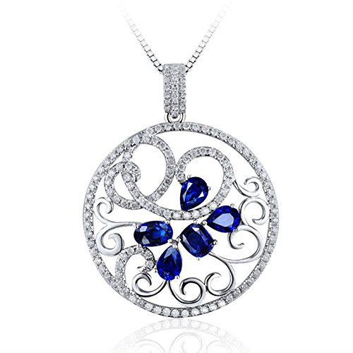 Abeillo Gemstone pendant Retro Crystal Necklace Jewelry Mothers Day Gifts (blue)