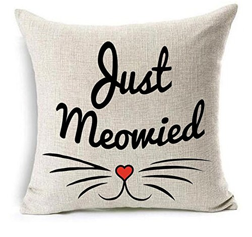 (Bnitoam Animal Phrases Just Meowied Cotton Linen Throw Pillow Covers Case Cushion Cover Sofa Decorative Square 18 x 18 inch (2))