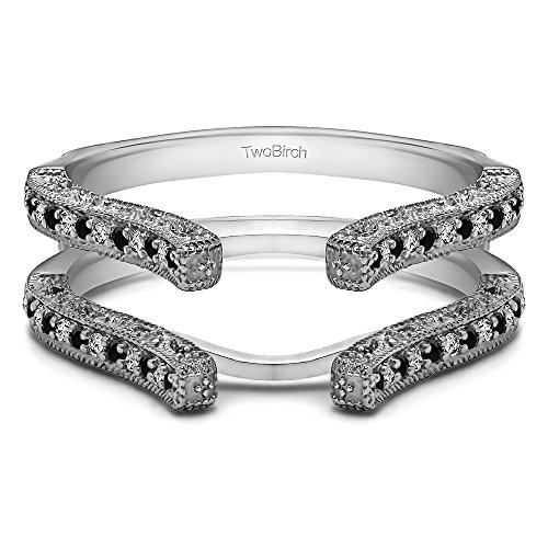 TwoBirch 0.36 ct. Black And White Cubic Zirconia Cathedral Filigree Wedding Ring Guard in Sterling Silver (3/8 ()