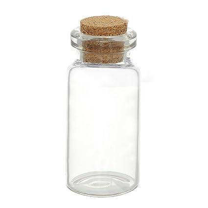 5 pcs, mini - botellas de cristal con corcho, cilíndrico, 5,3