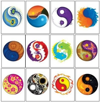 Chinese Symbol Temporary Tattoo - Ying Yang Temporary Tattoos - Set of 12