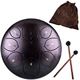Lotus Handpan Tongue Drum 8 Notes 6 Inches Chakra Tank Drum Steel Percussion Hang Drum Instrument with Padded Travel Bag and Mallets Purple