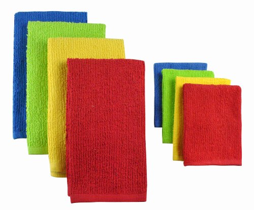 DII COS31271 Cotton Bar Mop Cleaning Set, Machine Washable, Absorbent, Everyday Kitchen Basic and Lint-Free, Dishtowels 16x24 and Dishcloths 12x12, Primary by DII