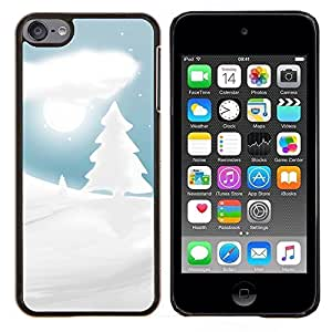 For Apple iPod Touch 6 6th Generation - White Snow Winter Picea Tree Moon Night Case Cover Protection Design Ultra Slim Snap on Hard Plastic - God Garden -