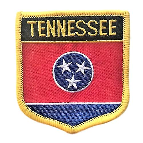 """Tennessee Flag Badge Patch/U.S. State Shield Embroidered Iron-On/Sew-On Patch Collection (TN Crest, 2.75"""" x 2.35"""")"""