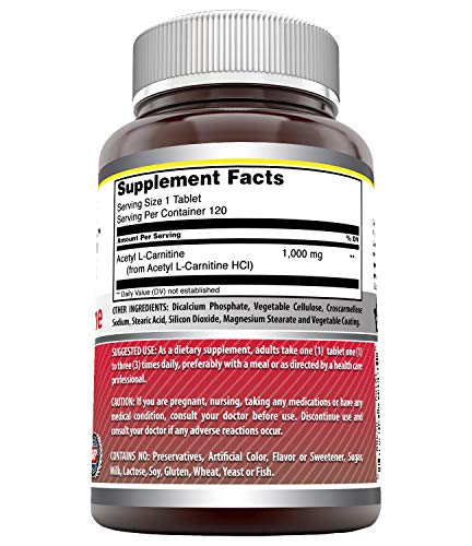 Amazing Nutrition Amazing Formulas Acetyl L-Carnitine For Energy Production, Supports Brain Health & Cognitive Function, Helps Reduce Nerve Pain, (Non-GMO, Gluten Free), 1000 Mg (120 Tablets)