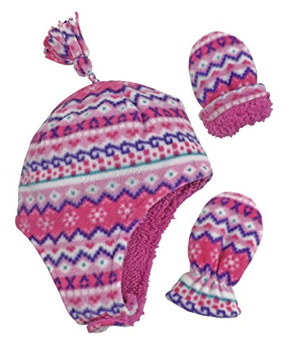 Price comparison product image N'Ice Caps Little Girls Baby Soft Sherpa Lined Micro Fleece Pilot Hat Mitten Set (Fair Isle Print Infant, 6-18 Months)