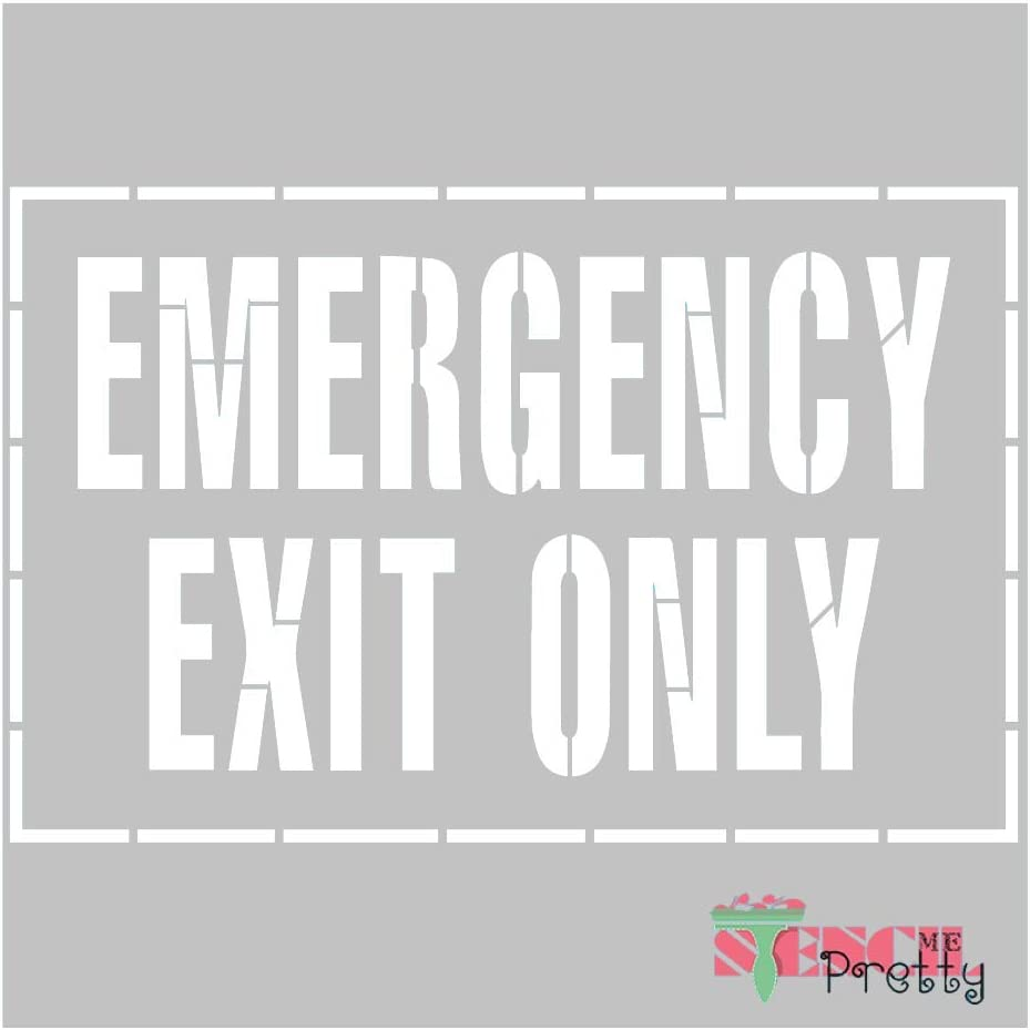 13 x 8.5 Stencil   Standard Brilliant Blue Color Material Emergency Exit Only Sign Pain it on-S
