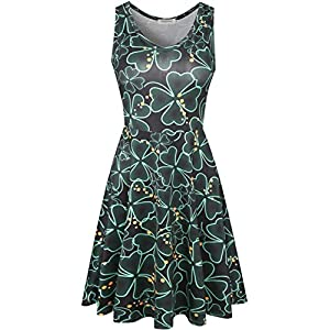 Melynnco Women's Casual Sleeveless Skater Tank Dress