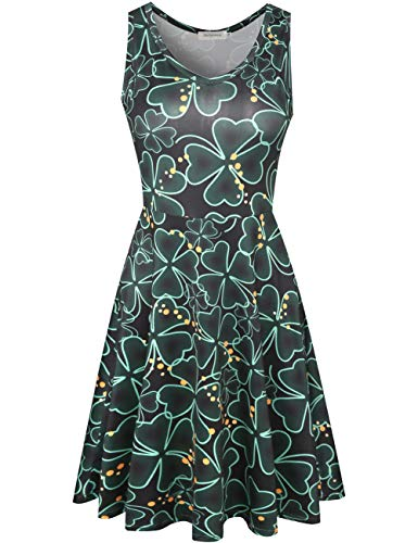 Melynnco Women's Shamrocks Print Sleeveless Casual Dress for St. Patrick's Day X-Large Black/Clover -