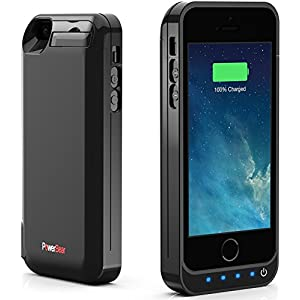 PowerBear Battery Case iPhone 5SE / 5S / 5C / 5 [4000mah] Built in USB Power Bank Capacity (Up to 2.5X Extra Battery) - Black [24 Month Warranty and Screen Protector Included]