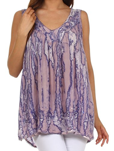 - Sakkas 62531 Boho Love Sleeveless Blouse - Purple - One Size