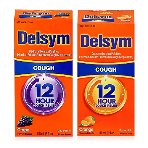Delsym Mixed Flavor Combo Pack for Adults: Delsym Adult 12 Hr Cough Relief Liquid, Grape (5oz) and Delsym Adult 12 Hr Cough Relief Liquid, Orange (5oz)