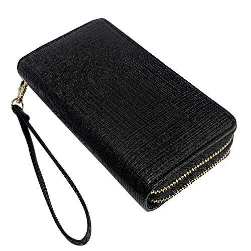 Double Zipper Wristlet Wallet Long Zip Around Clutch Travel Purse for for Cards, Cash, Checkbook, Passport (Plaid-Black)